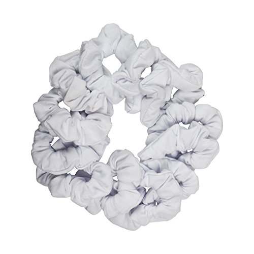 12 Pack Solid Hair Ties Scrunchies - White by Motique Accessories