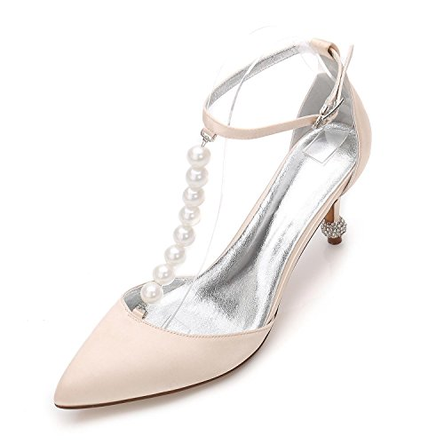 L@YC Plataforma De Trabajo Para Mujer F17767-37 Zapatos De La Corte De Boda Bombas Stiletto Low Mid Kitten TalóN Talla 3-8 Champagne