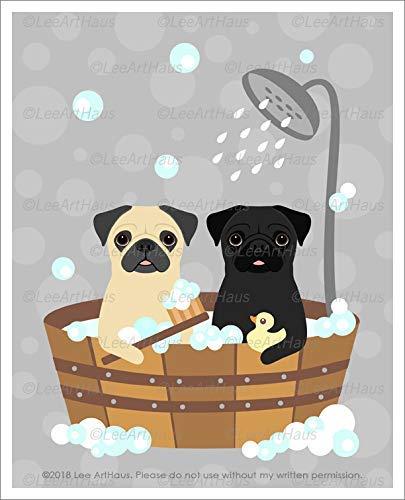 - 519D - Fawn and Black Pug Dogs Bubble Bath in Wooden Bathtub UNFRAMED Wall Art Print by Lee ArtHaus