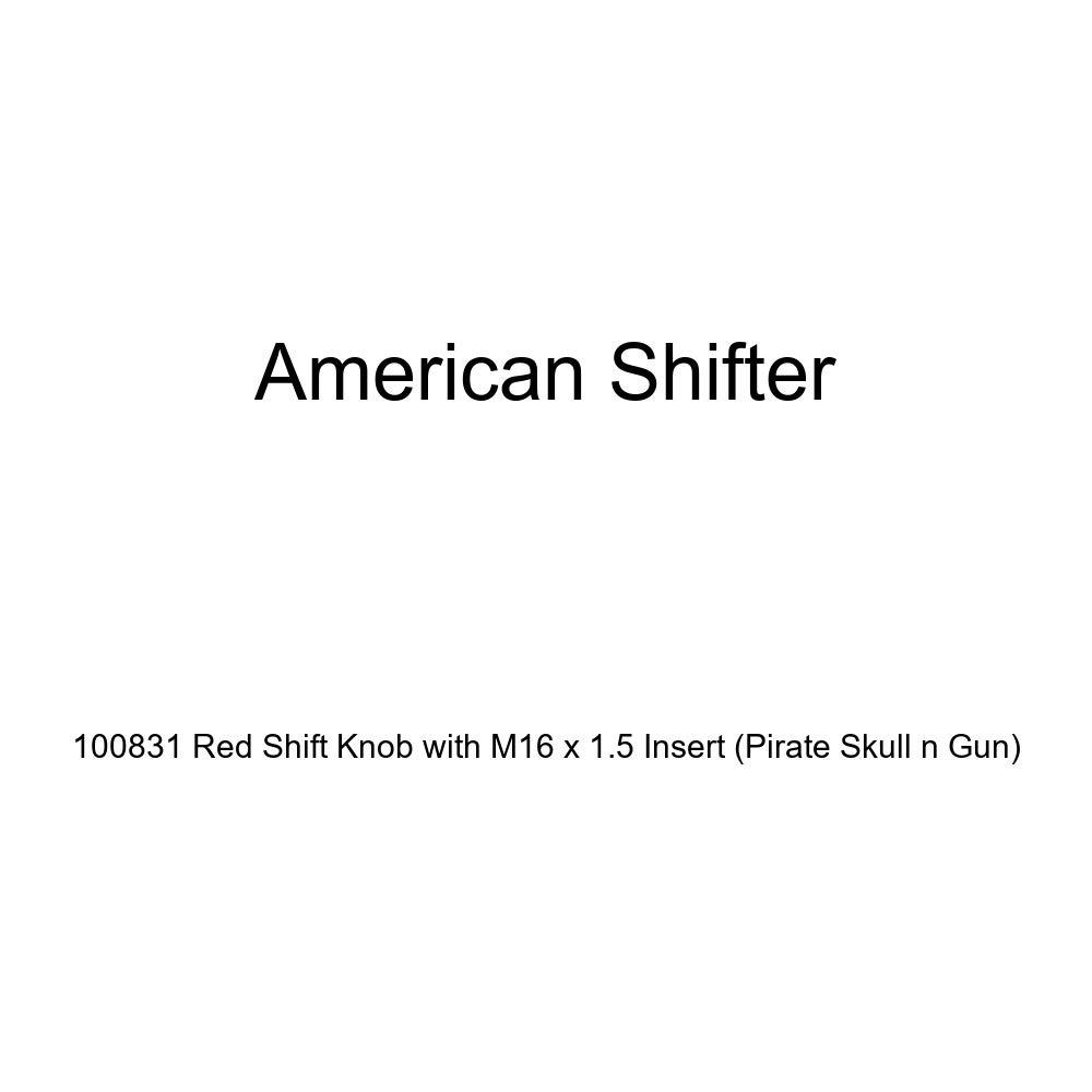 American Shifter 100831 Red Shift Knob with M16 x 1.5 Insert Pirate Skull n Gun