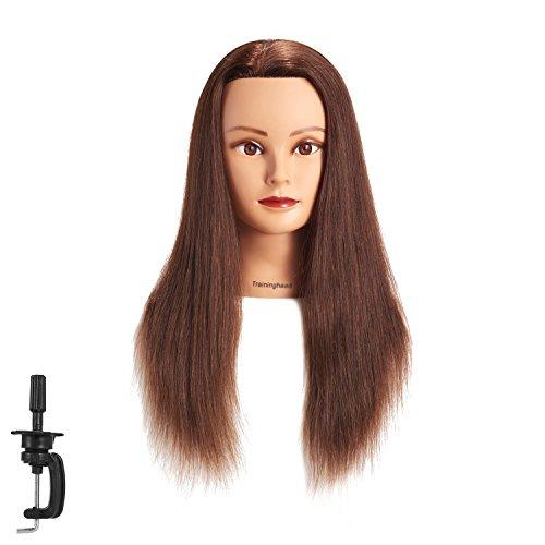 20-22 100% Human hair Mannequin head Training Head Cosmetology Manikin Head Doll Head with free Clamp (dark brown)