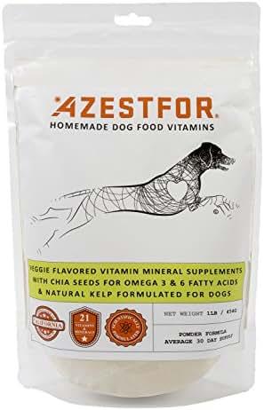Azestfor Dog Vitamins Supplements Raw and Homemade Dog Food Multivitamins Minerals Powder 1lb Veggie Flavor