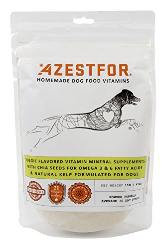 Azestfor Dog Vitamins Supplements Raw and Homemade Dog Food Multivitamins Minerals Powder 1lb Veggie ()