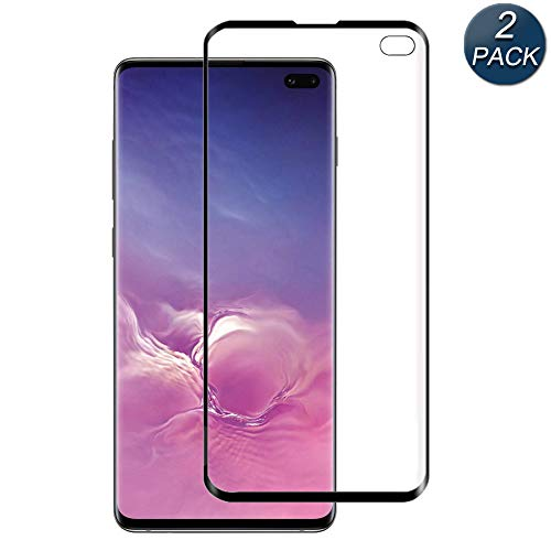 for Galaxy S10 Plus Screen Protector, [2 Pack][Case Friendly] Tempered Glass, 9H Hardness, Bubble Free, Compatible with S10 Plus Black