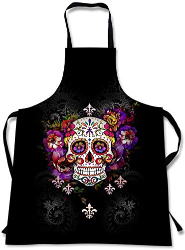 Sweet Gisele Sugar Skull Cooking Apron | 3D Print Chef Aprons | Great Home Kitchen Souvenir Gift Soft | Travel Accessories Made in USA | 1 Size Adjustable Bib Unisex -