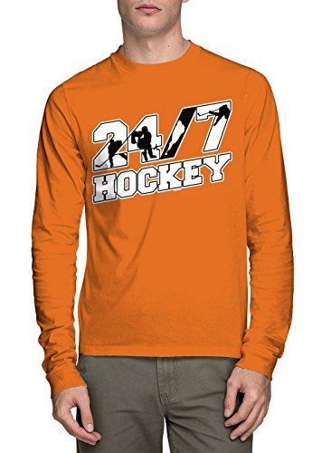 Long Sleeve Men's 24/7 Hockey Shirt (Orange, Small)