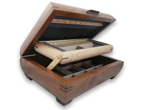 Birdseye Maple Jewelry Box - Modern Artisans American Handmade Walnut & Maple Wood Jewelry Box