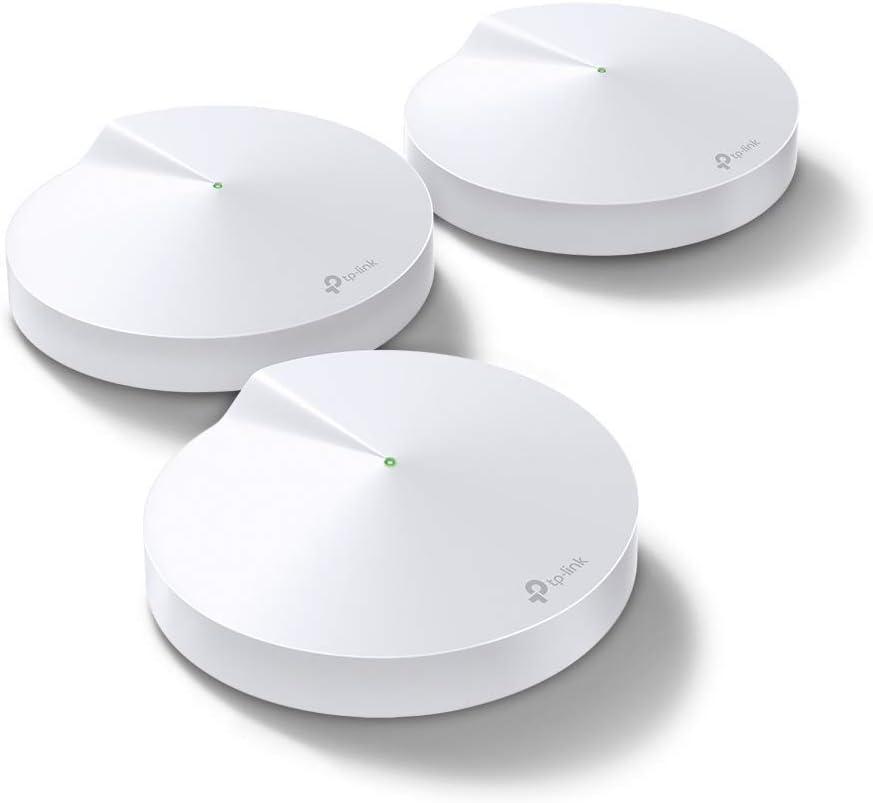TP-Link AC2200 Tri-Band Smart Home Mesh Wifi-systeem, tot 600 vierkante meter en 100+ apparaten, ingebouwde IoT Hub (Bluetooth 4.2, ZigBee HA 1.2), speciale draadloze backhaul (Deco M9 Plus(3-pack))