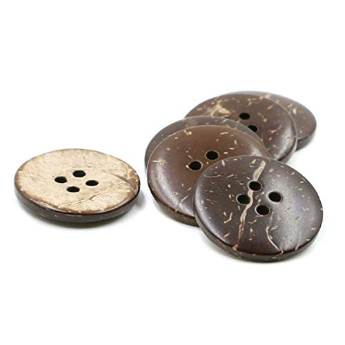 Numblartd 100Pcs Brown Natural Coconut Shell Round Buttons - DIY Handmade Decor Craft Scrapbooking Clothes Sewing Supplies Accessories (30mm / 1.18