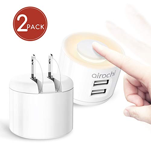 Dual USB Wall Charger with Night Light, airochi 2-in-1 Fast Charger, Up to 4A with Folding Plug for Travel, Compatible with iPhone X/XS/7/7S/6/6S, Samsung, iPad&More