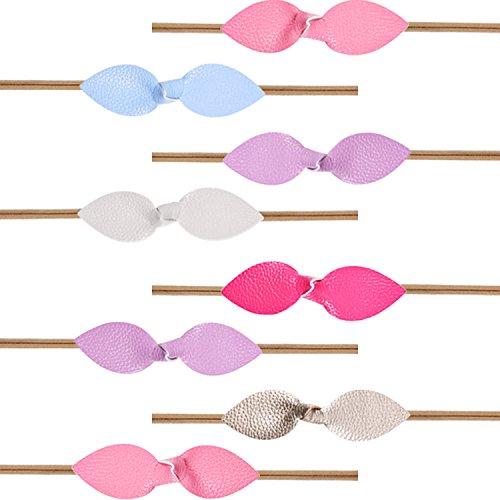 BOAO 8 Pieces Baby Girls Headbands Soft Faux Leather Hairbow Rabbit Ears Elastic Nylon Headband, Multicolor