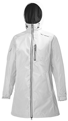 Helly Hansen Women's Long Belfast Lightweight Waterproof Windproof Breathable Raincoat Jacket with Hood, 002 White, Medium