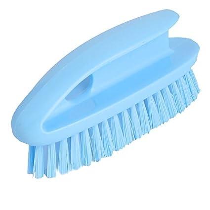 eDealMax mango de plástico para el hogar Zapatos Ropa Scrubbing Limpiador de cepillo de lavado azul