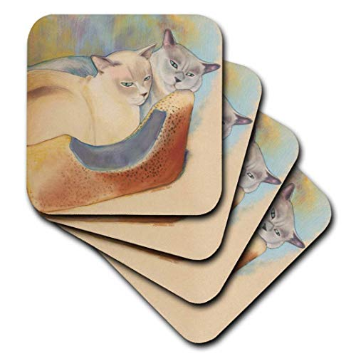 3dRose Cats Two Cats Tonkinese Cats Cuddling Pastel Painting Pet Portrait Cats Cat Bed - Soft Coasters, Set of 4 (CST_23299_1)