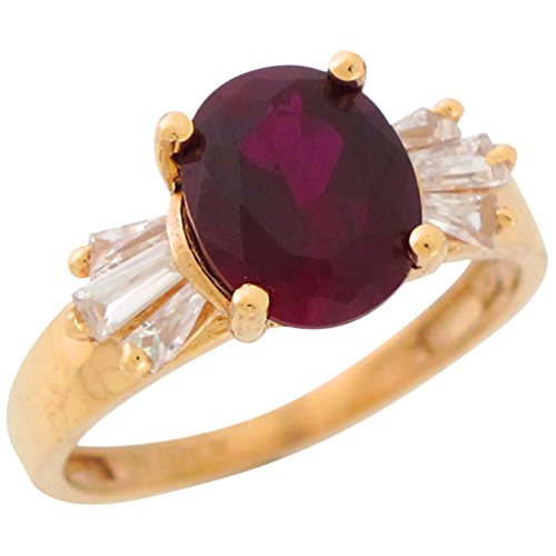 10k Yellow Gold Oval Simulated Garnet Baguette CZ Accents Ladies January Ring ()