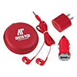 Austin Peay 3 in 1 Red Audio Travel Kit 'AP Austin Peay Governors - Official Athletic Logo'