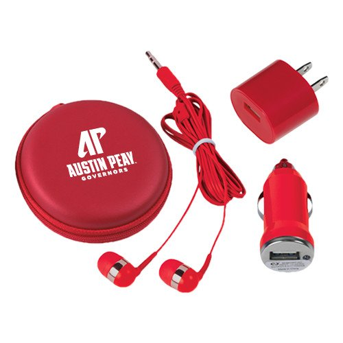 Austin Peay 3 in 1 Red Audio Travel Kit 'AP Austin Peay Governors - Official Athletic Logo' by CollegeFanGear