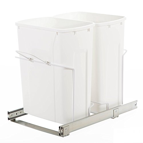 Double Recycling Bin (Knape & Vogt SBM15-2-35WH In-Cabinet Bottom Mount Pull Out Trash Can, 18.8