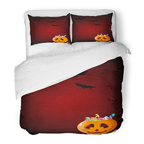 Emvency Bedding Duvet Cover Set Full/Queen (1 Duvet Cover + 2 Pillowcase) Artworks of Jack O' Lantern Full Halloween Treats Bat Bubblegum Cake Candy Cartoon Hotel Quality Wrinkle and Stain Resistant