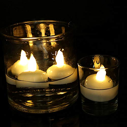 Enegg Waterproof Tea Lights Battery Operated Water Sensor, 12 Pack Flickering Floating LED Candles for Centerpieces Wedding Party Pool SPA Decoration Xmas Home Room Halloween, Warm White -