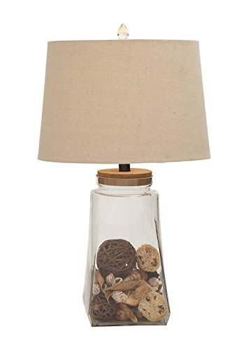 Deco 79 78455 Glass Fillable Table Lamp - Deco Shade Glass