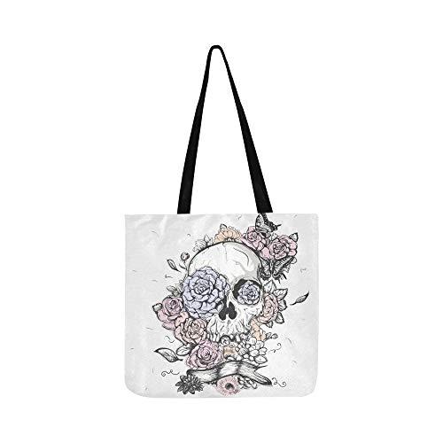 Pour Journée Tote Et À Toile Fleurs Shopping Papillons Main Sac Femmes Crâne De Hommes Sacs Bandoulière vaZ5w