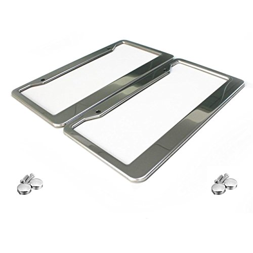 Lumenon License Plate Frame Stainless Steel Polished 2 Pack with Two Holes and Chrome Screw ()