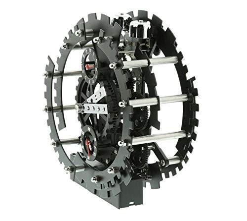 OOTB Ideal Metall Tischuhr 18 cm Deko Uhr Schwarz Offenes Getriebe mit Alarmfunktion