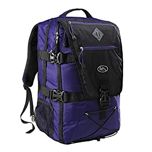 Cabin Max® Equator 44L Womens/Mens Backpacks - Perfect Hiking Backpack - Cabin Luggage 54x36x23cm fits Qantas and Air New Zealand - Laptop Slot and Integrated rain Cover! (Purple/Black)