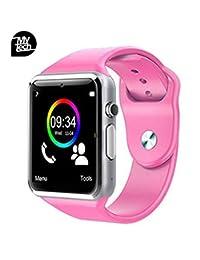 MY TECH Reloj Celular Smartwatch A1 Camara Bluetooth MicroSD Compatible con Android iPhone para Hombre Mujer Niños (Rosa)