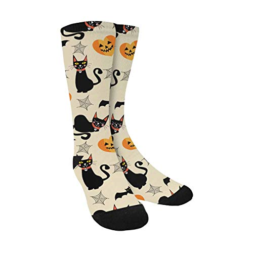 Black Cat For Halloween Printables (INTERESTPRINT Black Cat and Halloween Symbols Printable Sublimated Crew Socks Polyester for Outdoor)