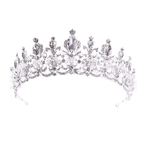 LUXISDE Luxury Elegant Crown Full Diamond Black Zircon Flower Headwear Headband Ladies