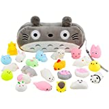 Mochi Squishy Toys 20-Pcs Pack - FREE Kawaii Cat Carrying Bag| Random Package of Mini Variety Animals Squishies Case| Cute Box of Animal Toy Set| Fun Birthday Present Idea for Girls + Boys Party Favor