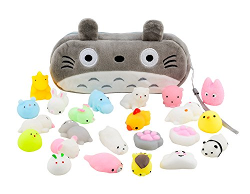 Mochi Squishy Toys 20-Pcs Pack - FREE Kawaii Cat Carrying Bag| Random Package of Mini Variety Animals Squishies Case| Cute Box of Animal Toy Set| Fun Birthday Present Idea for Girls + Boys Party Favor (Birthday Party Ideas For 7 Yr Old Girl)
