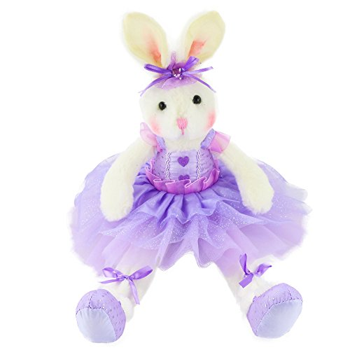 Soft Adorable Plush (WEWILL Ballerina Bunny Stuffed Animal Adorable Soft Plush Toys Rabbit Doll, Easter Birthday Girls Gift, 15-Inch (Purple))