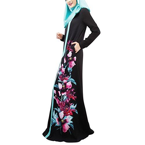 Highdas mujeres musulmanas mangas largas vestido multicolor de códigos múltiples abaya bata Negro