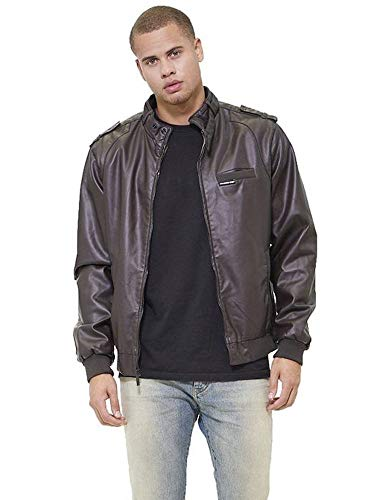 Members Only Men's Big and Tall Vegan Leather Iconic Racer Jacket, Dark Brown, ()