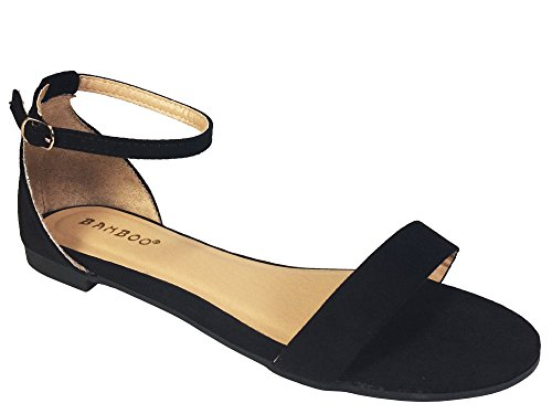 BAMBOO Women's One Band Flat Sandal with Ankle Strap, Black Faux Suede, 8.0 B (M) US