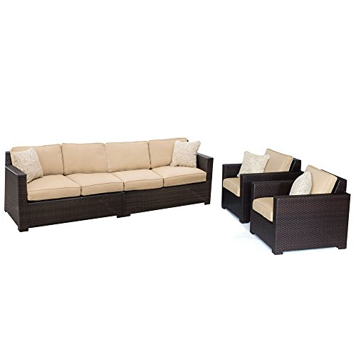 - Hanover Outdoor Metropolitan 4 Piece Lounge Set, Sahara Sand