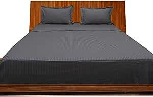 Brightlinen Elephant Grey Single (90 X 190 Cm) Sheet Set Stripe (pocket Size: 30 Cm) 4pcs