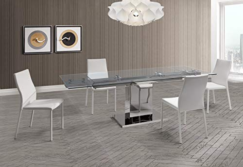 Whiteline Contemporary Modern DT1233 Slim Extendable Dining Table with 1/2 Tempered Clear Glass Top and Stainless Steel Base, White