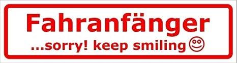 Kiwistar Magnetschild Fahranfänger Sorry Keep Smilling Für Kfz Und Sonstige Metalloberflächen Baumarkt