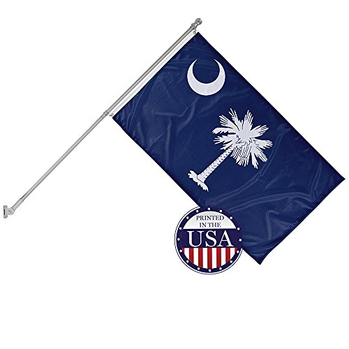 - Vispronet - South Carolina State Flag and 6ft Flagpole with Wall Mounting Bracket - 3ft x 5ft Knitted Polyester Flag, State Flag Collection, Flag Printed in The USA