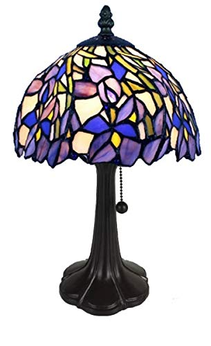 Amora Lighting Tiffany Style Mini Accent Lamp 15 Tall Stained Glass Purple Blue Floral Iris Flower Antique Vintage Light Decor Living Room Bedroom Handmade Gift AM1076TL08B, Multicolor