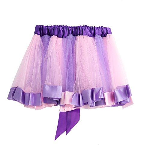 Toyvian Niñas bebés Tutu Faldas Gasa Fluffy Pettiskirts Niñas Princesa Vestido de Fiesta de Baile Faldas de Tul (Purple...