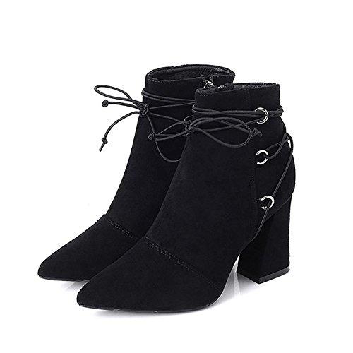 peluche tacchi 39 lacci BLACK stivali breve BROWN in scarpe alti spessi 35 caviglia cerniera caldo pelle Donna xI0avS