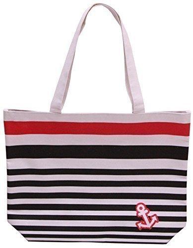 Price comparison product image Ladies Striped Beach Bag - Black Blue Pink (Black)
