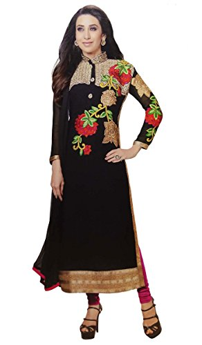 Black Semi Stitched Embroidered Suit Bollywood Georgette Straight Salwar Kameez