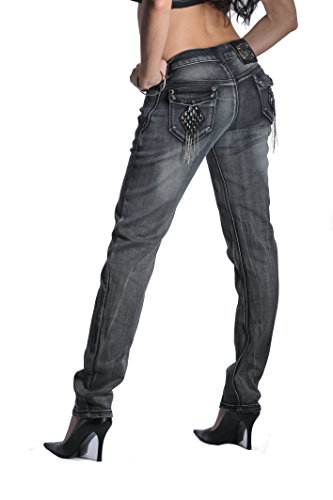 Women's Poison Heart Jeans with Metal Brooch and Frill Pockets (Gray, 14) - Heart Pocket Jeans