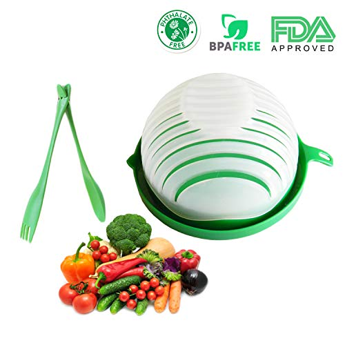 5 in 1 Salad Cutter Bowl   60 Second Salad   Easy Slicer Chopper Strainer Cutting Board All in One   Strong and Durable  Fruit and Vegetable Cutter   Safe and Non-Toxic Food Grade BPA Free Material